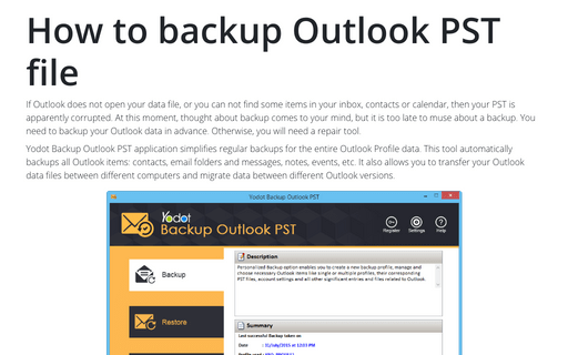 How to backup Outlook PST file